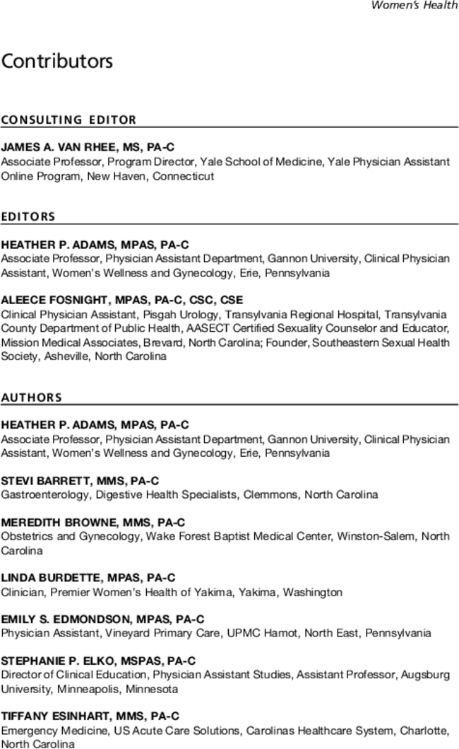 Contributors Physician Assistant Clinics